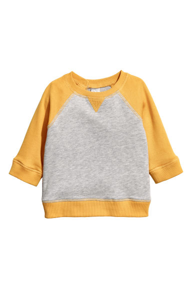 Cotton sweatshirt - Light grey/Yellow -  | H&M CN 1